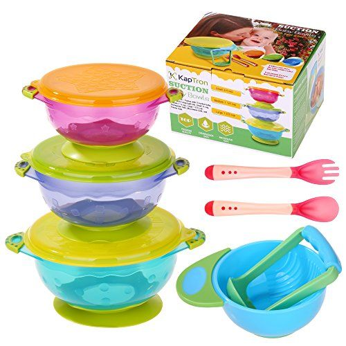 Baby Bowls, Kaptron Set of 3 Suction Baby Bowls with Food ...