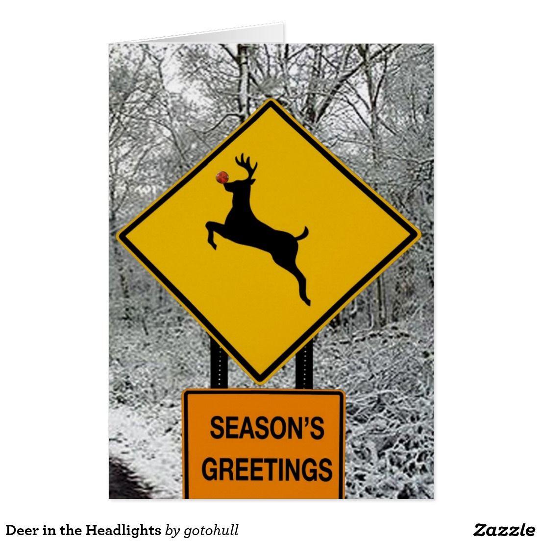Deer In The Headlights Holiday Card