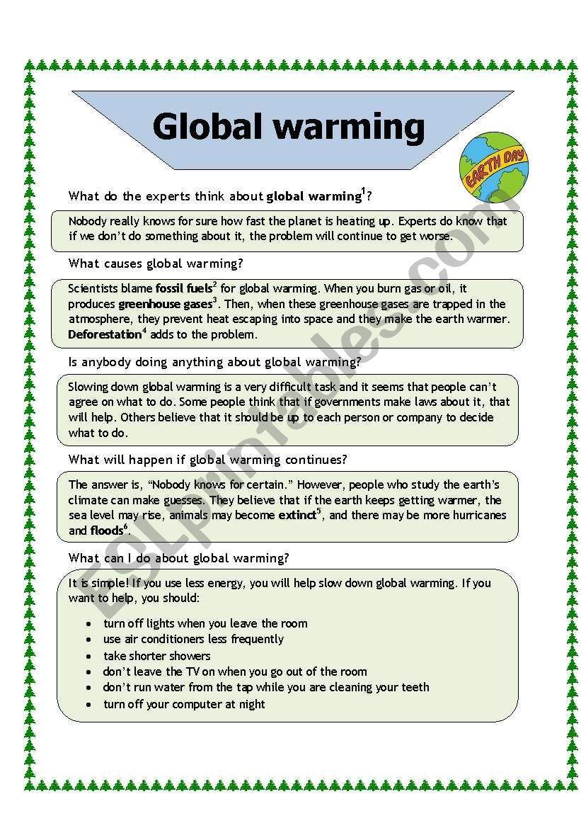 Calentamiento Global Hoja De Trabajo Esl Por Baiba Global Warming Reading Comprehension Worksheets Vocabulary Worksheets