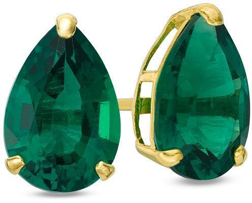 Zales Pear-Shaped Lab-Created Emerald Solitaire Stud Earrings in 10K Gold 6gegRwT71