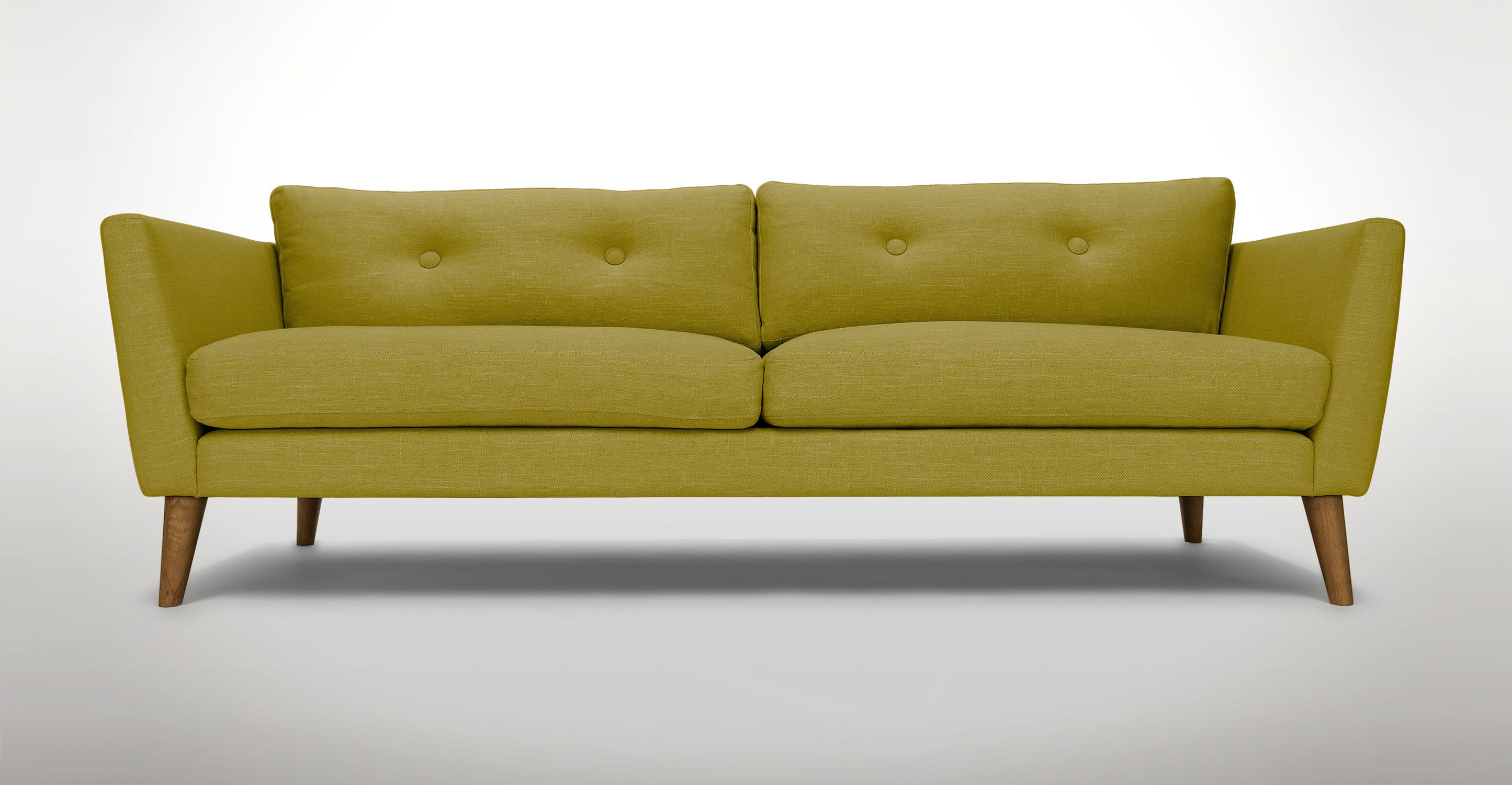 Green Tufted Sofa 3 Seater Solid Wood Legs