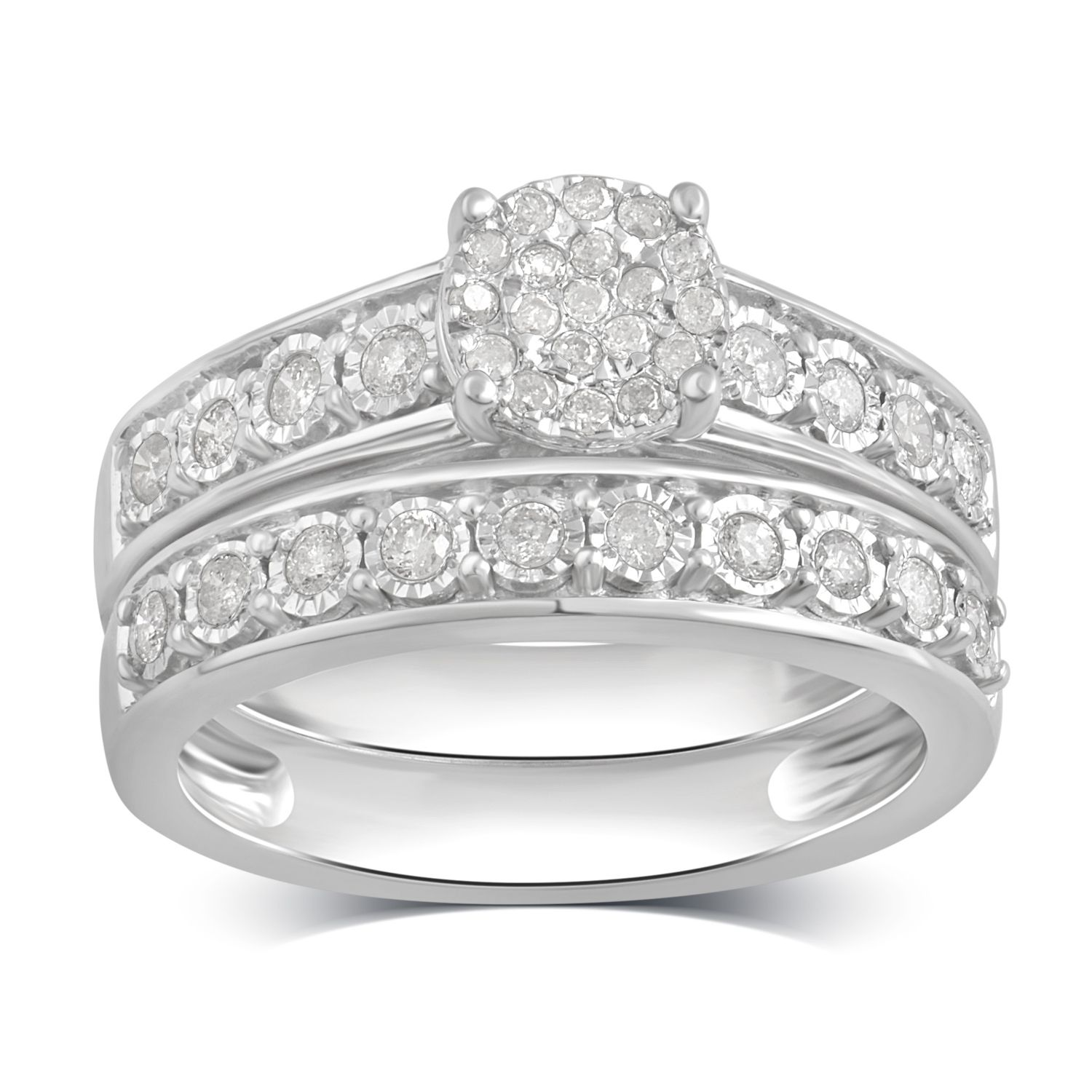 Arista 1 2 Carat T W Diamond Miracle Plate Sterling Silver Bridal Set Walmart Com Sterling Silver Wedding Rings Sets Art Deco Engagement Ring Handmade Engagement Rings