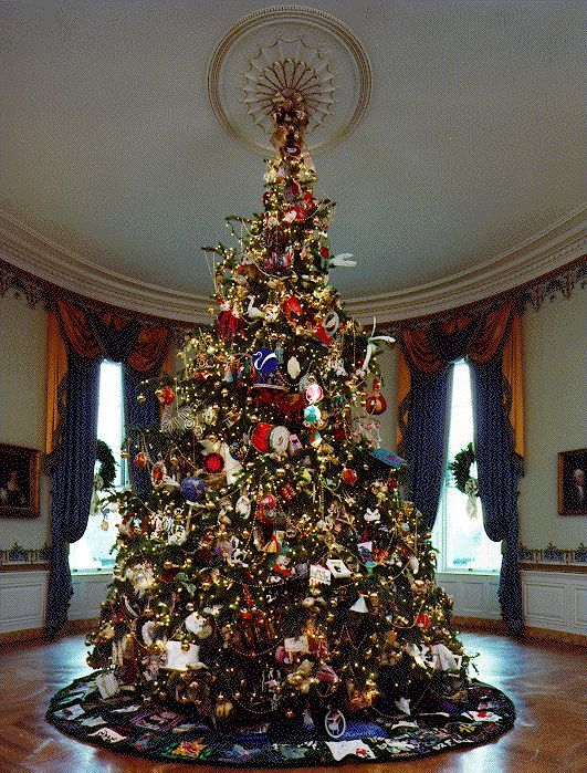 Red White House Christmas Trees 2020