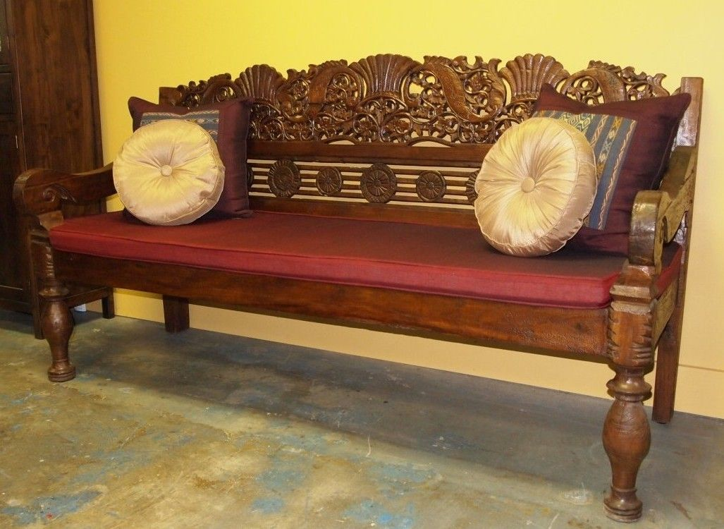 Hand Carved Indonesian Bench From Gadogado Bali