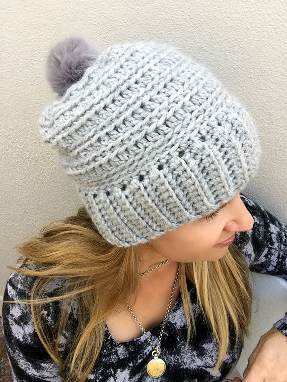 Slouchy Ribbed Beanie Pattern For Chunky Yarn Crochet Hat Pattern