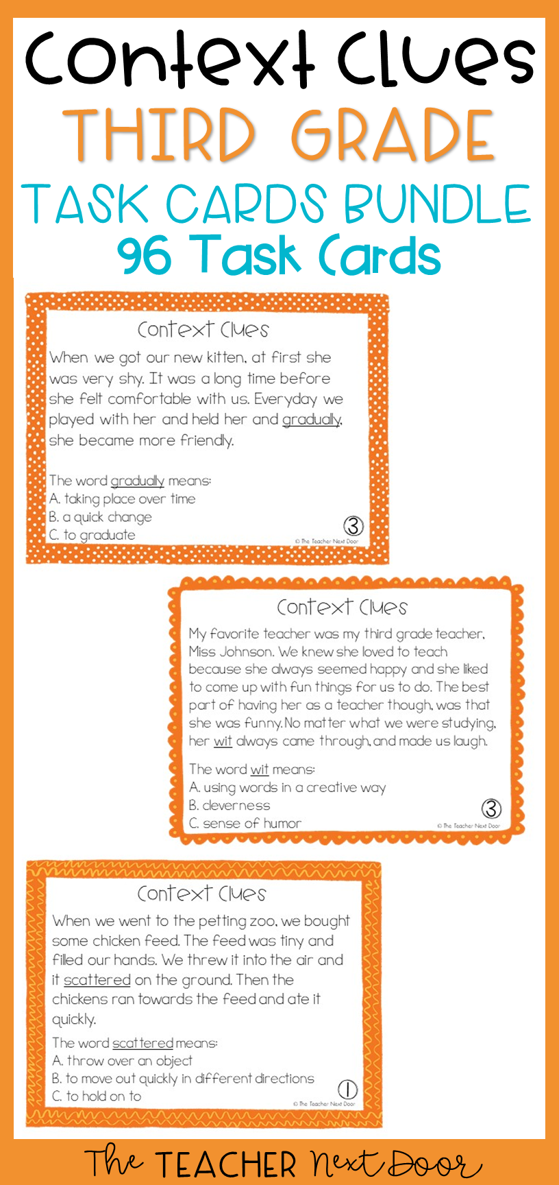 Context Clues 3rd Grade Task Cards Bundle Context Clues Context Clues Task Cards Context Clues Third Grade [ 1728 x 816 Pixel ]