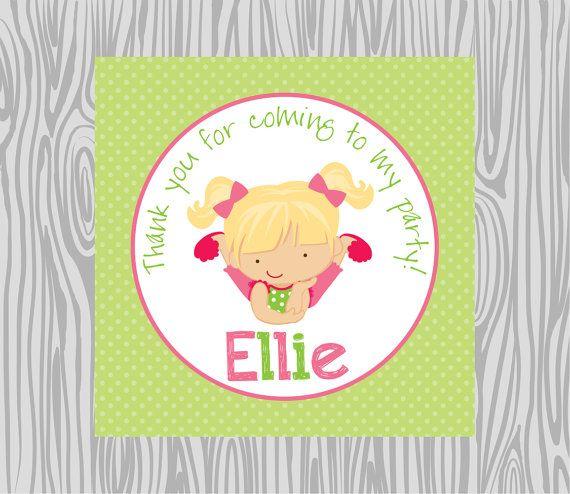 DIY - Girl Pancakes & Pajamas Birthday Favor Tags- Coordinating Items Available via Etsy