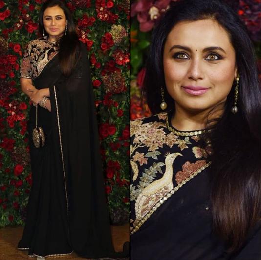 Rani Mukerji In A Black Embroidered Saree Saree Saree Designs Fashion