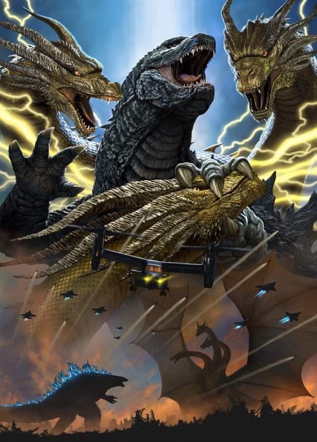 Godzilla Vs King Ghidorah Epic Battle By Misssaber444 On Deviantart Godzilla Vs King Ghidorah Godzilla Wallpaper Godzilla Tattoo
