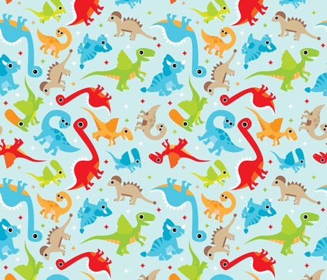 Cute dancing dino fabric by littlesmilemakers on Spoonflower - custom fabric