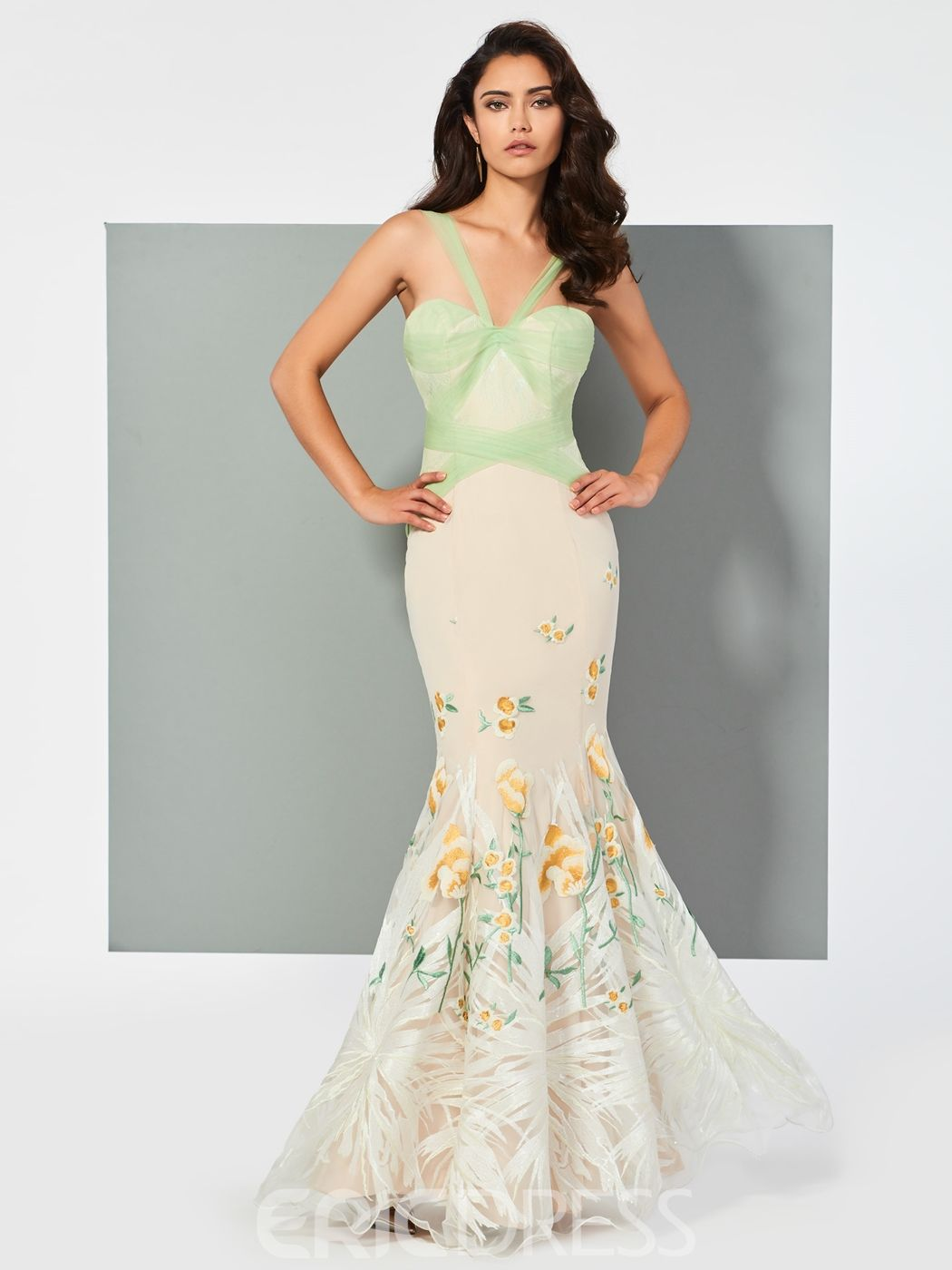 Straps embroidery lace mermaid evening dress in floor length