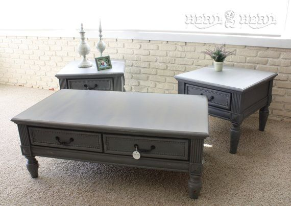 Charcoal Grey Coffee Table And End Tables Distressed Furniture