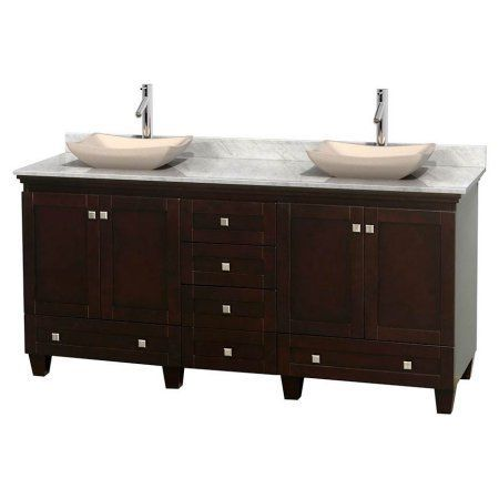 Wyndham Collection Acclaim 72 inch Double Bathroom Vanity in Espresso, White Carrera Marble Countertop, Avalon Ivory Marble Sinks, and No Mirrors