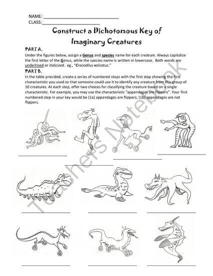 Construct A Dichotomous Key Of Weird Wacky Creatures Grades 5 11
