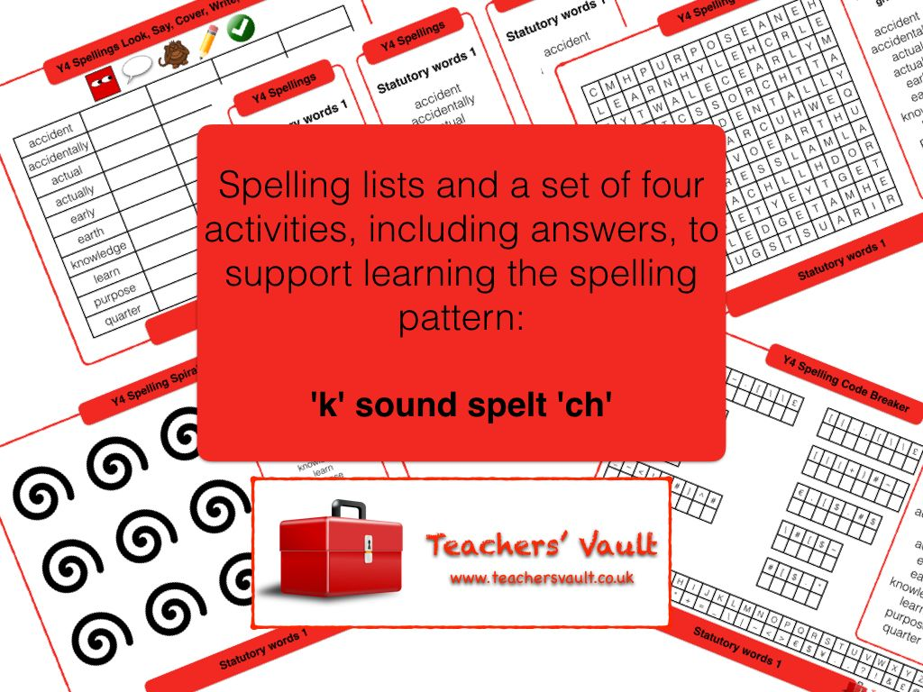 Y4 Spelling Activities Pack