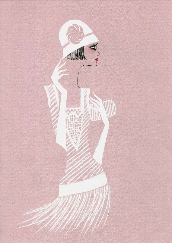 Fashion Illustration Print  - Lady In a White Hat