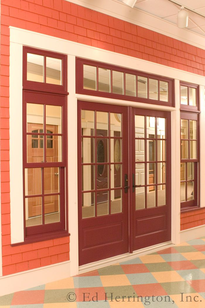 Marvin ultimate wineberry clad french door with transom for Double hung exterior french doors