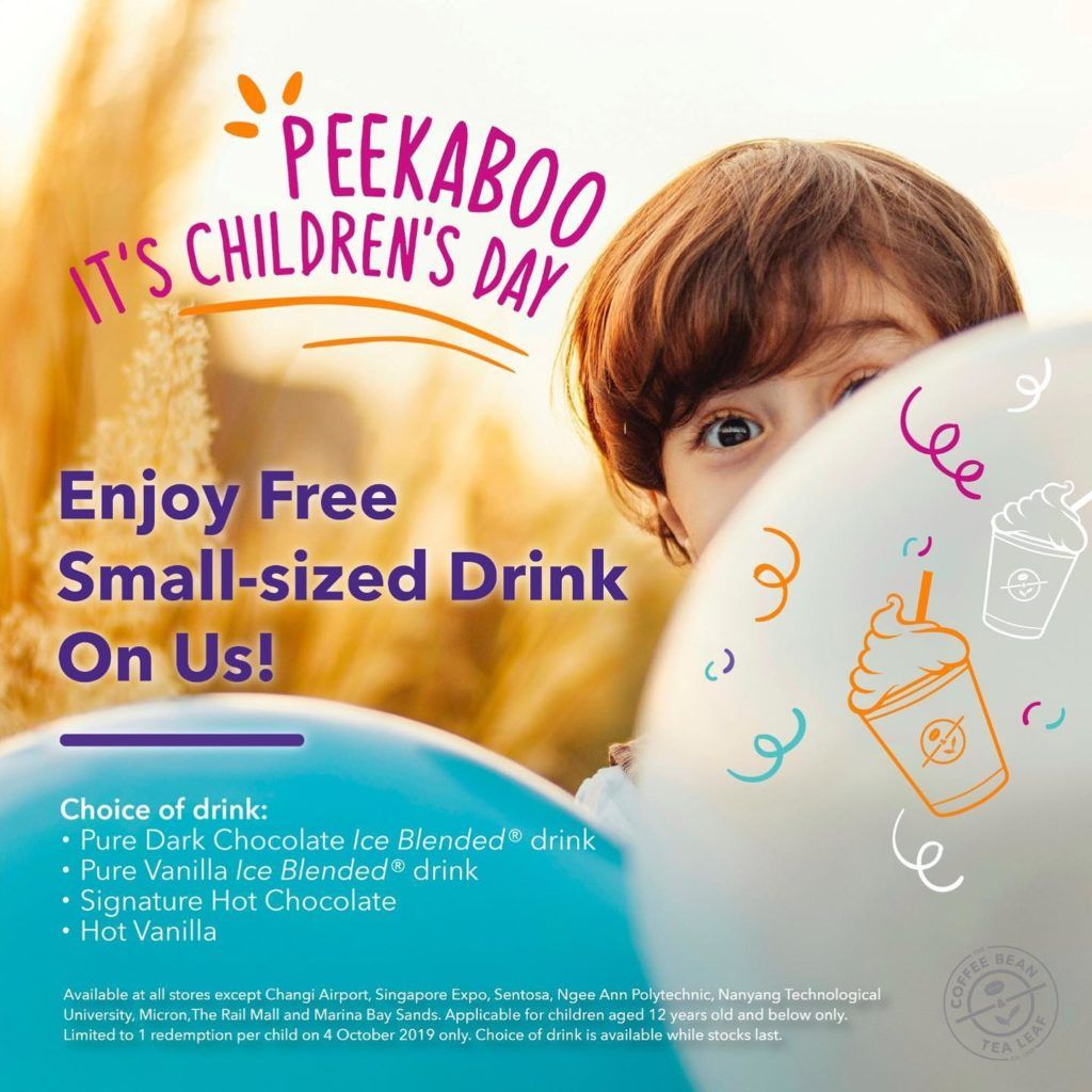 The Coffee Bean Tea Leaf Singapore Free Small Sized Drink Children S Day Promotion 4 Oct 2019 Tea Leaves Blended Drinks Child Day