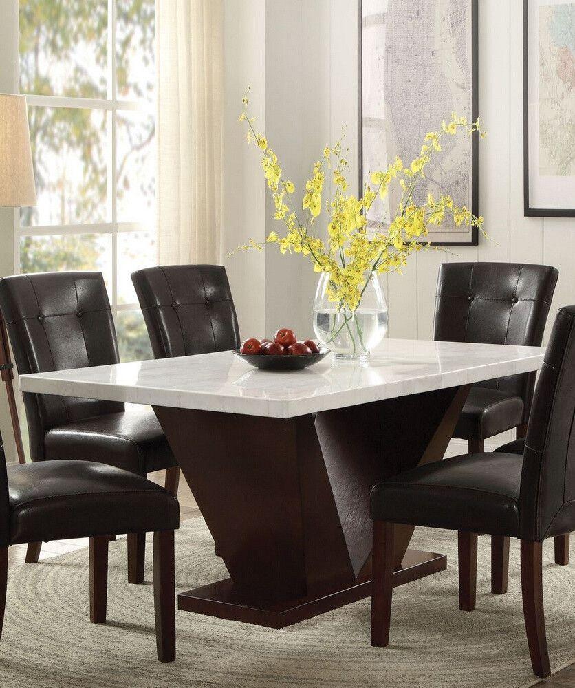Forbes White Walnut Marble Wood Rectangular Dining Table By Acme 342 00 Dining Table Marble Rectangular Dining Table Dining Table