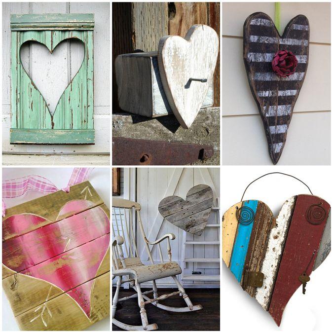 reclaimed wood hearts