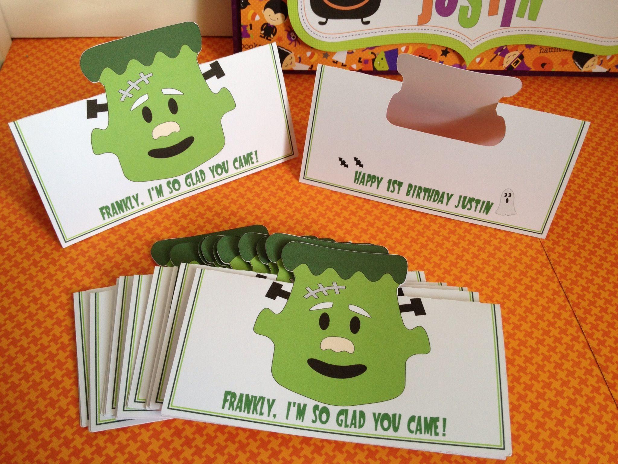 Halloween birthday party treat bag toppers. Frankenstein. Visit my ...