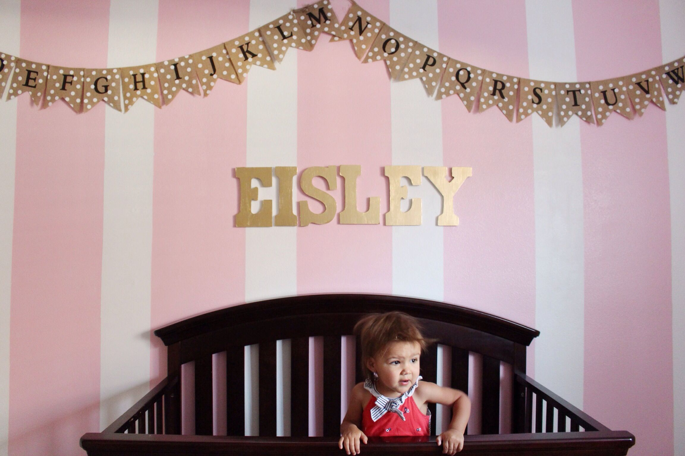 Pink and Gold Stripes DIY girls room