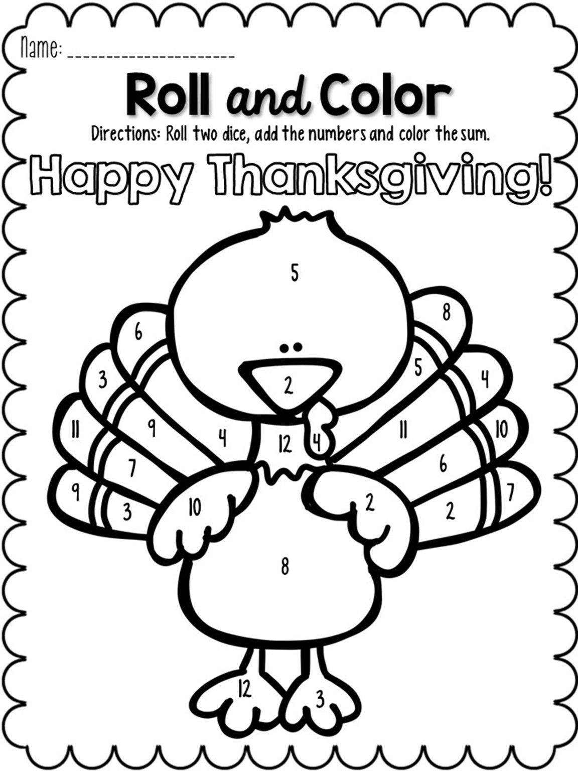 November Roll And Color Perfect For Thanksgiving Thanksgiving Worksheets Worksheets For Kids November Classroom [ 1536 x 1152 Pixel ]