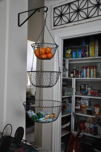 small kitchen makeover | hanging wire basket, home decor