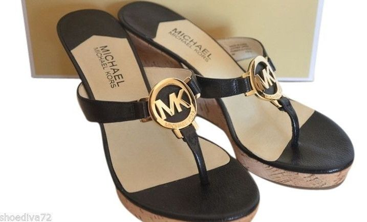 95d705f9d1d Michael Kors Palm Beach Sandal Black Gold Leather Cork Wedge 8 may fit 7.5  Slide  MichaelKors  PlatformsWedges