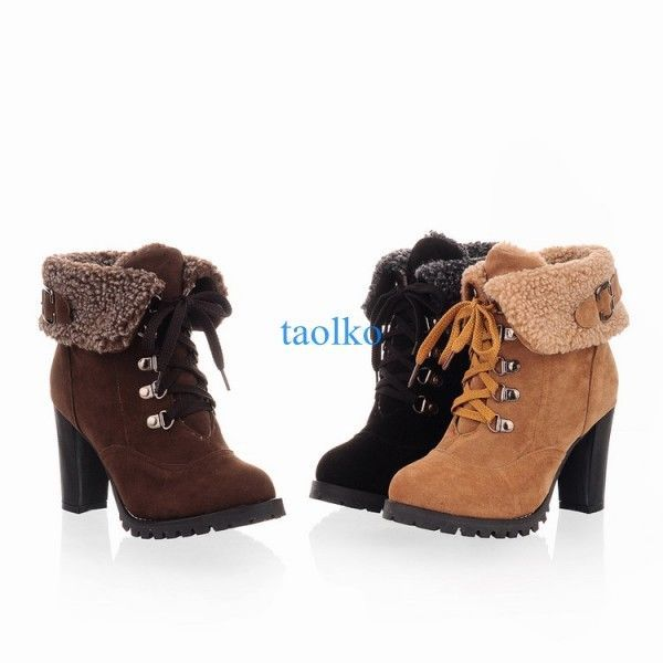 2c8a71b7327c0 Women's Winter Warm Ankle Snow Boots Block High Heel Lace Up Fur Lined Shoes