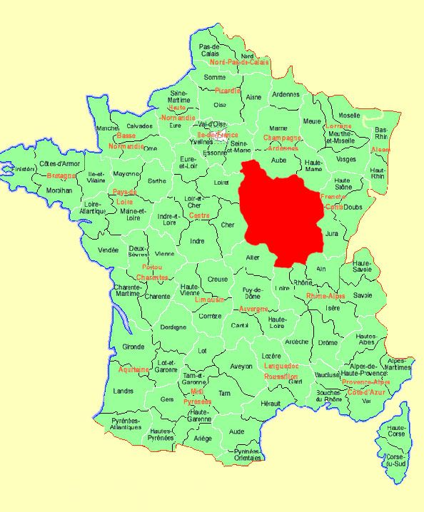 burgundy vineyard map | map shows france with bourgogne