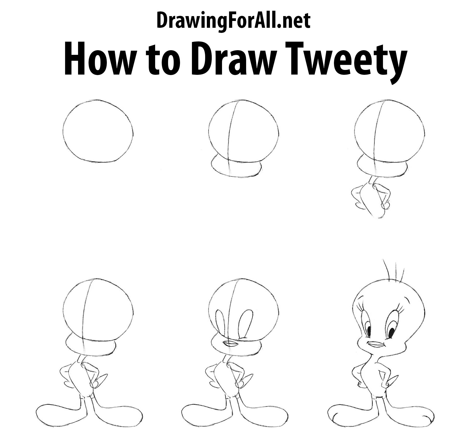 How To Draw Tweety Drawings Bugs Drawing Drawing Cartoon Characters