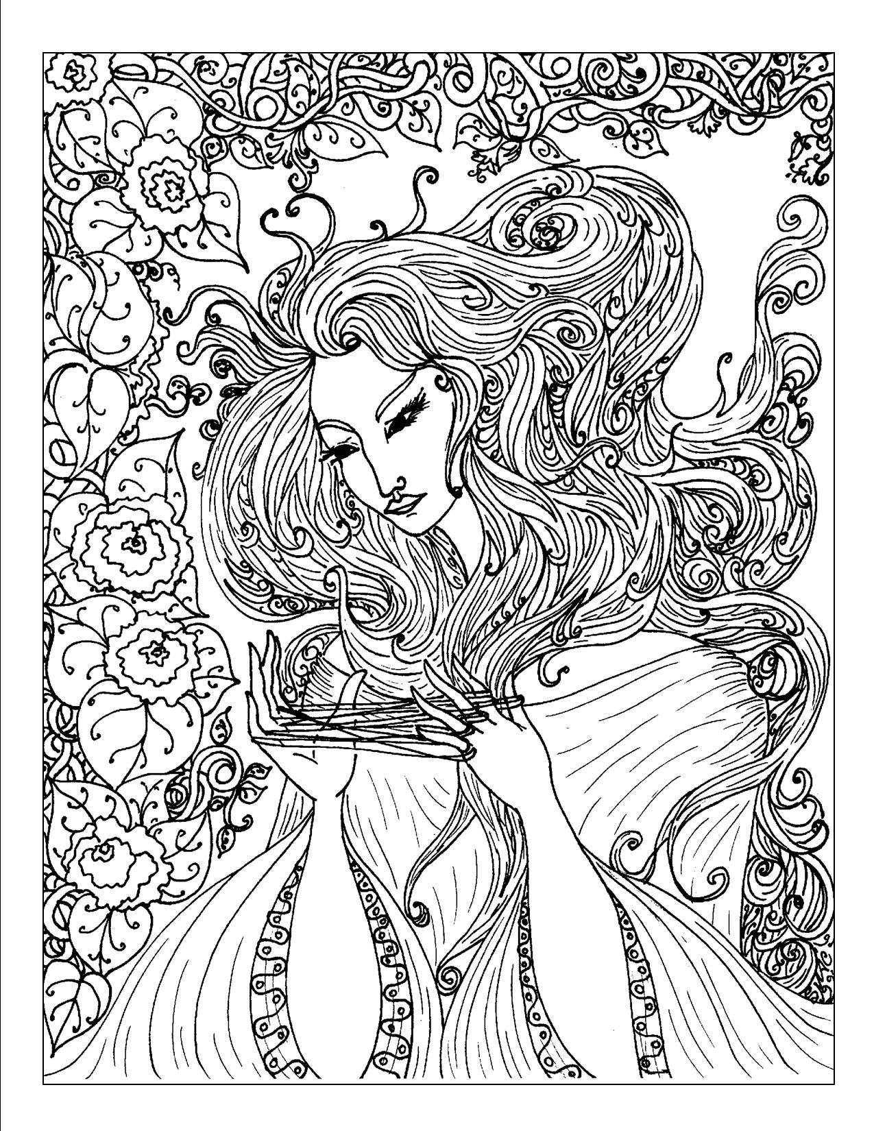 adult coloring page art nouveau coloring pages
