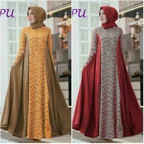 Model Baju Muslim Modern Kombinasi Brokat B135  https