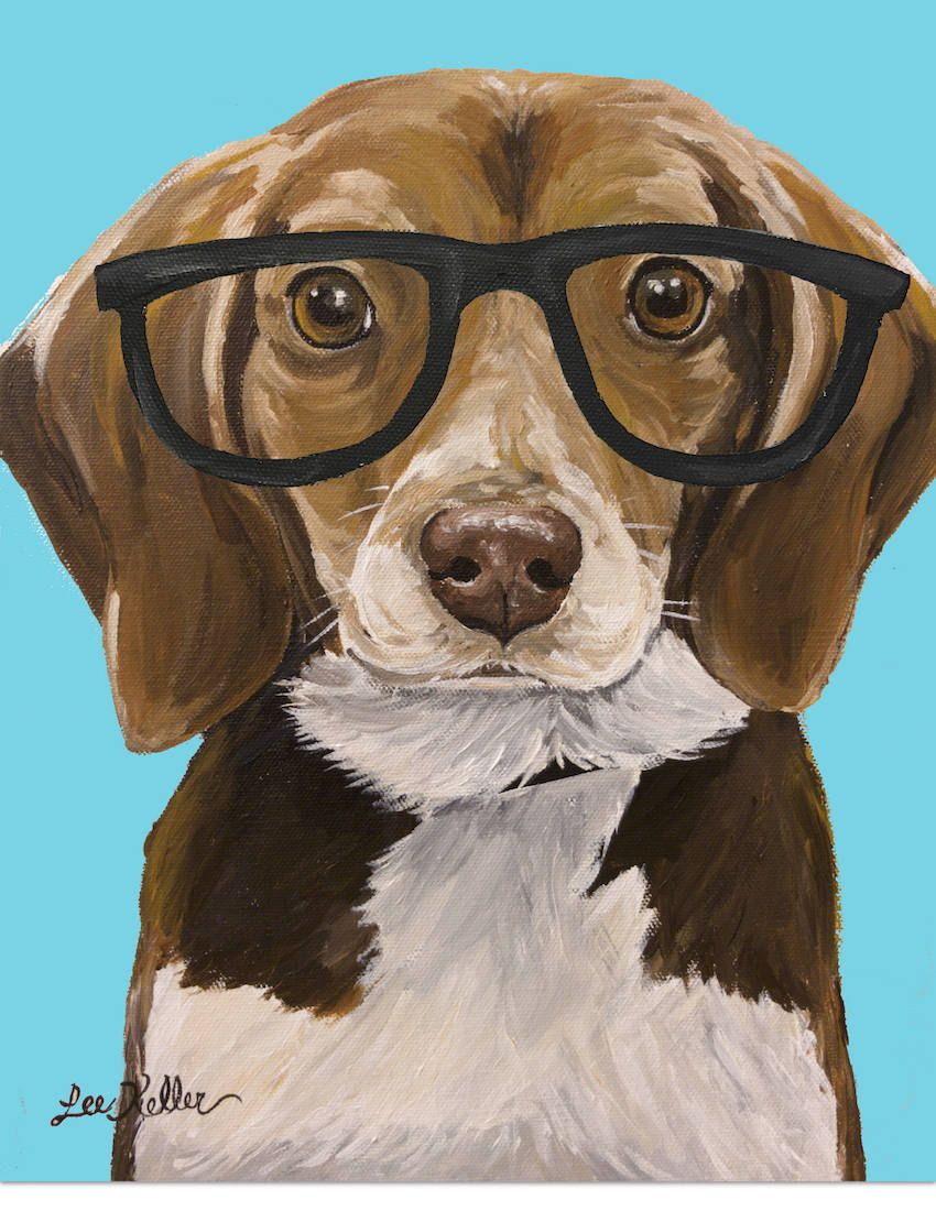 Cute Dog With Glasses Art Print Beagle With Glasses Canvas