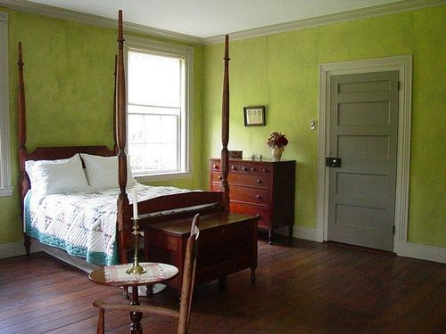 Green Bedroom Custom Mixed Milk Paint In Historic Home