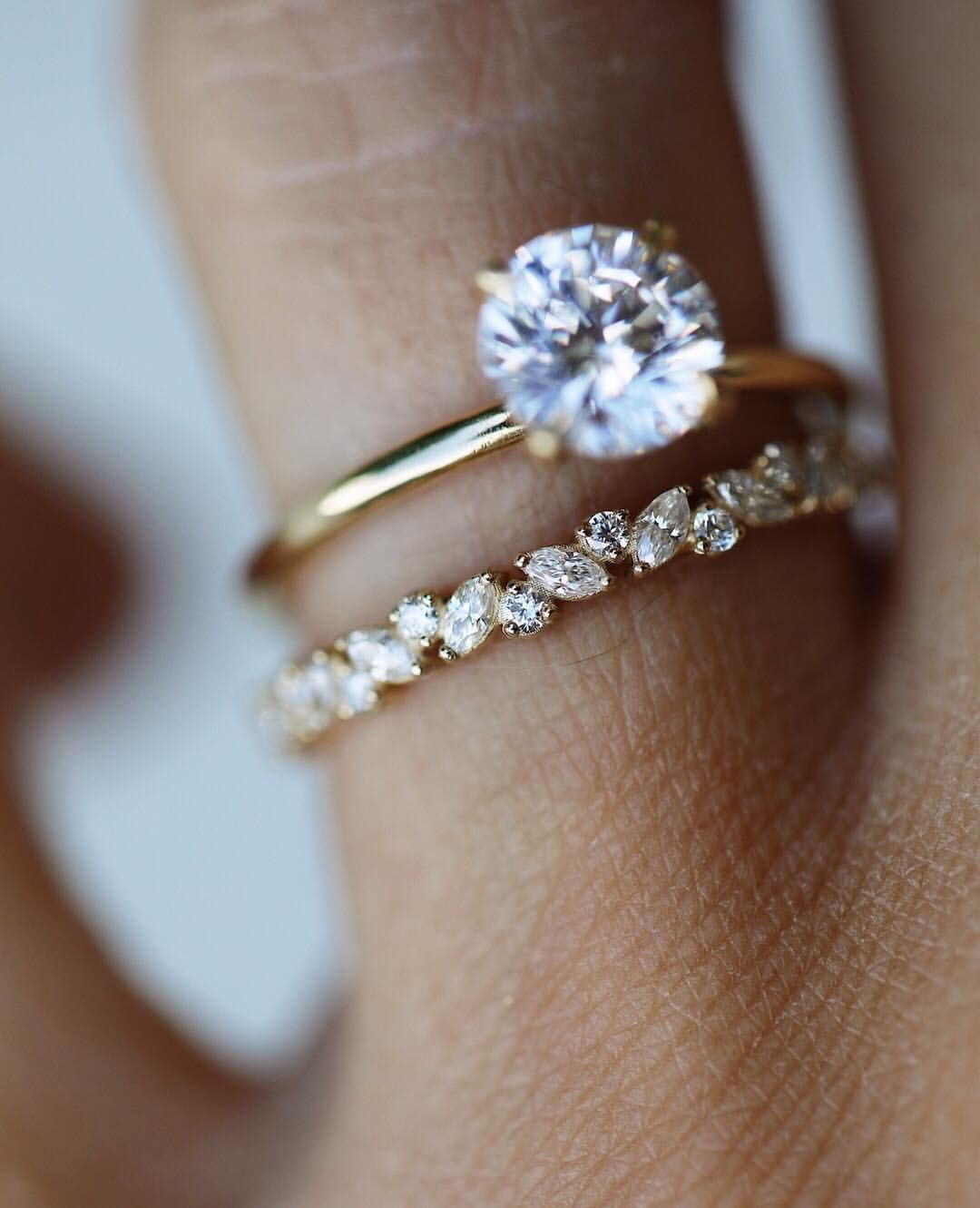 I Like The Simple Engagement Ring But Not The Wedding Band And I D Want It In Whi Moonstone Engagement Ring Set Wedding Rings For Women Best Engagement Rings