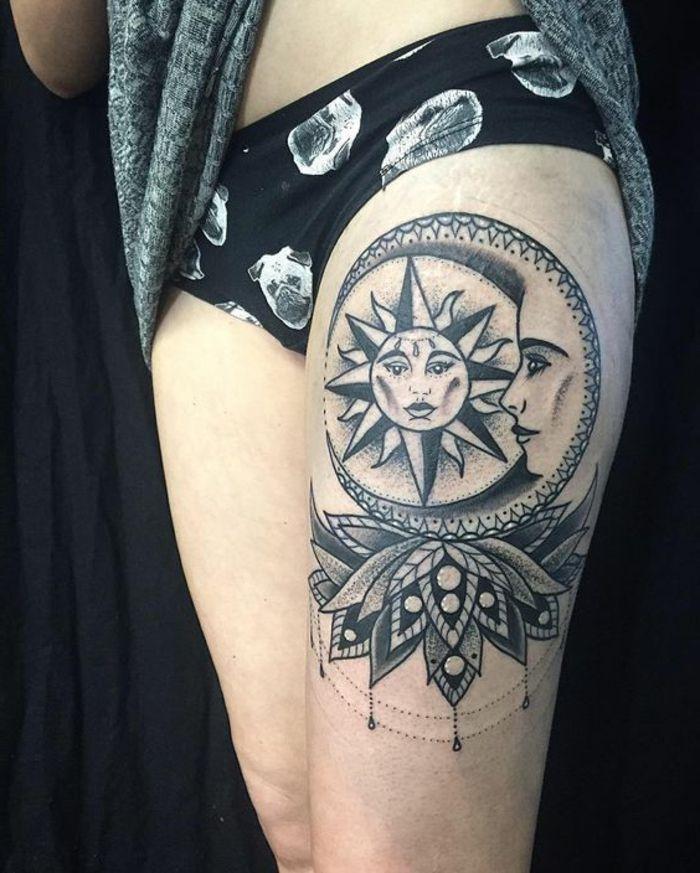 1001 versions fantastiques du tatouage lune et soleil tattoo and tatoo. Black Bedroom Furniture Sets. Home Design Ideas