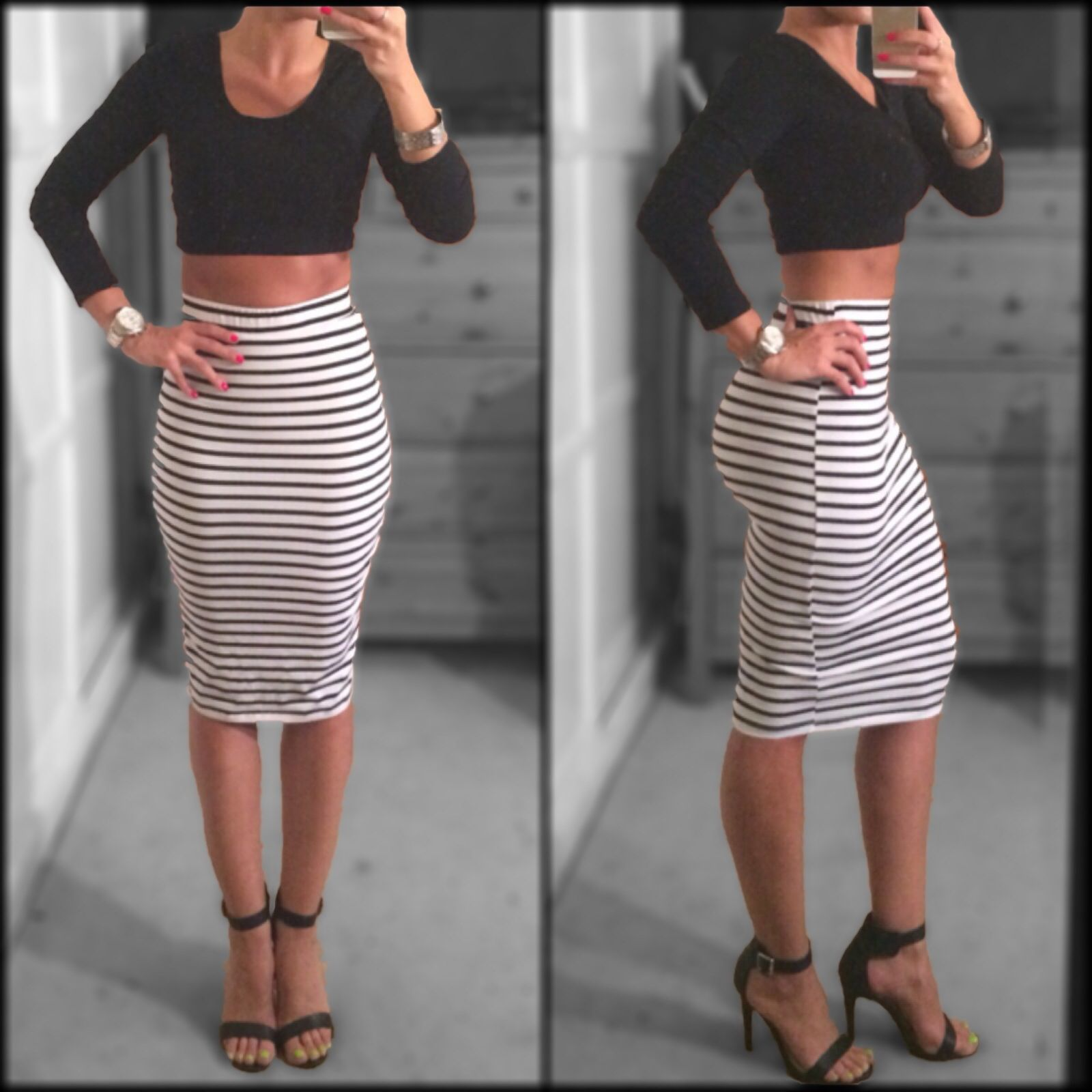 8a9a59f76c High waisted knee length black and white striped skirt, black crop top,  black two strap heels