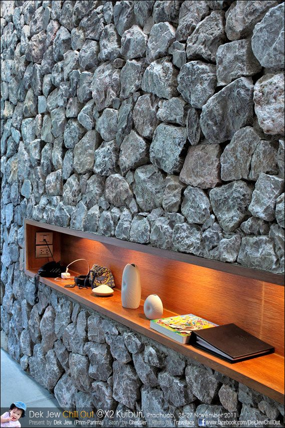 Inset Display Shelf In Rock Wall With Downlighting Iconic Stone