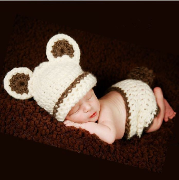f9ef6e9f2 Infant Photography Prop Bear Costume Cute Crochet Knitted Baby Hat Diaper Knitted  Outfit Animal Costume Girl Boy