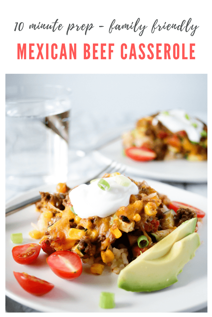 Mexican Ground Beef Casserole #groundbeeftacos Easy Mexican Ground Beef Casserole | All the taco flavors your family loves, in an Mexican ground beef casserole! This EASY ground beef rice casserole takes just 10 minutes to prep. #groundbeefrecipes #mexicancasserole #casserole #groundbeefcasserole #groundbeeftacos