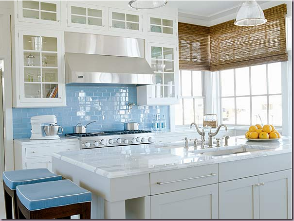 Splashback Tiles And Seagrass Blinds Kitchen Ideas