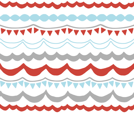 Carnival in Gray, Tomato Red and Sky Blue fabric by sparrowsong