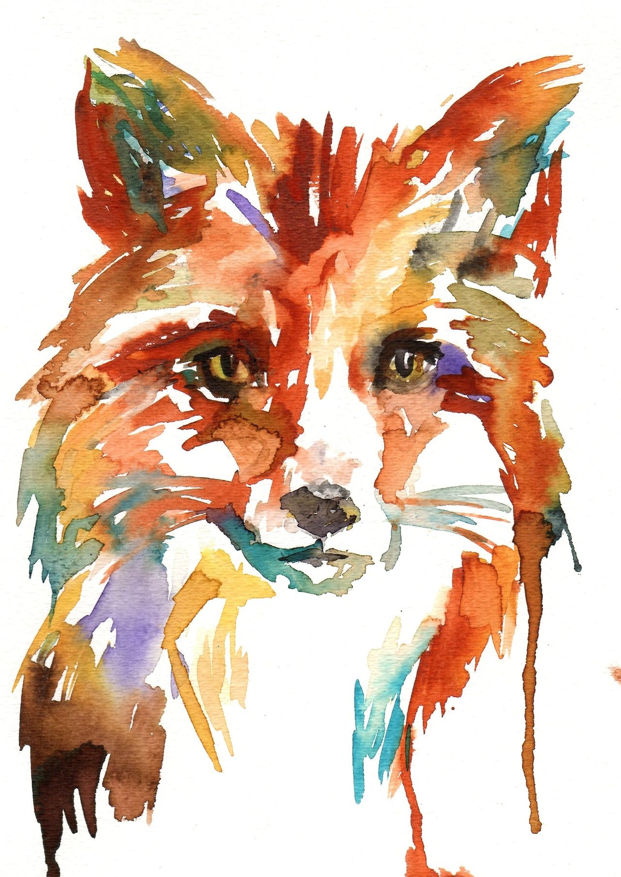 Abstract Fox Art Art Collective Fox 水彩画 水彩 画