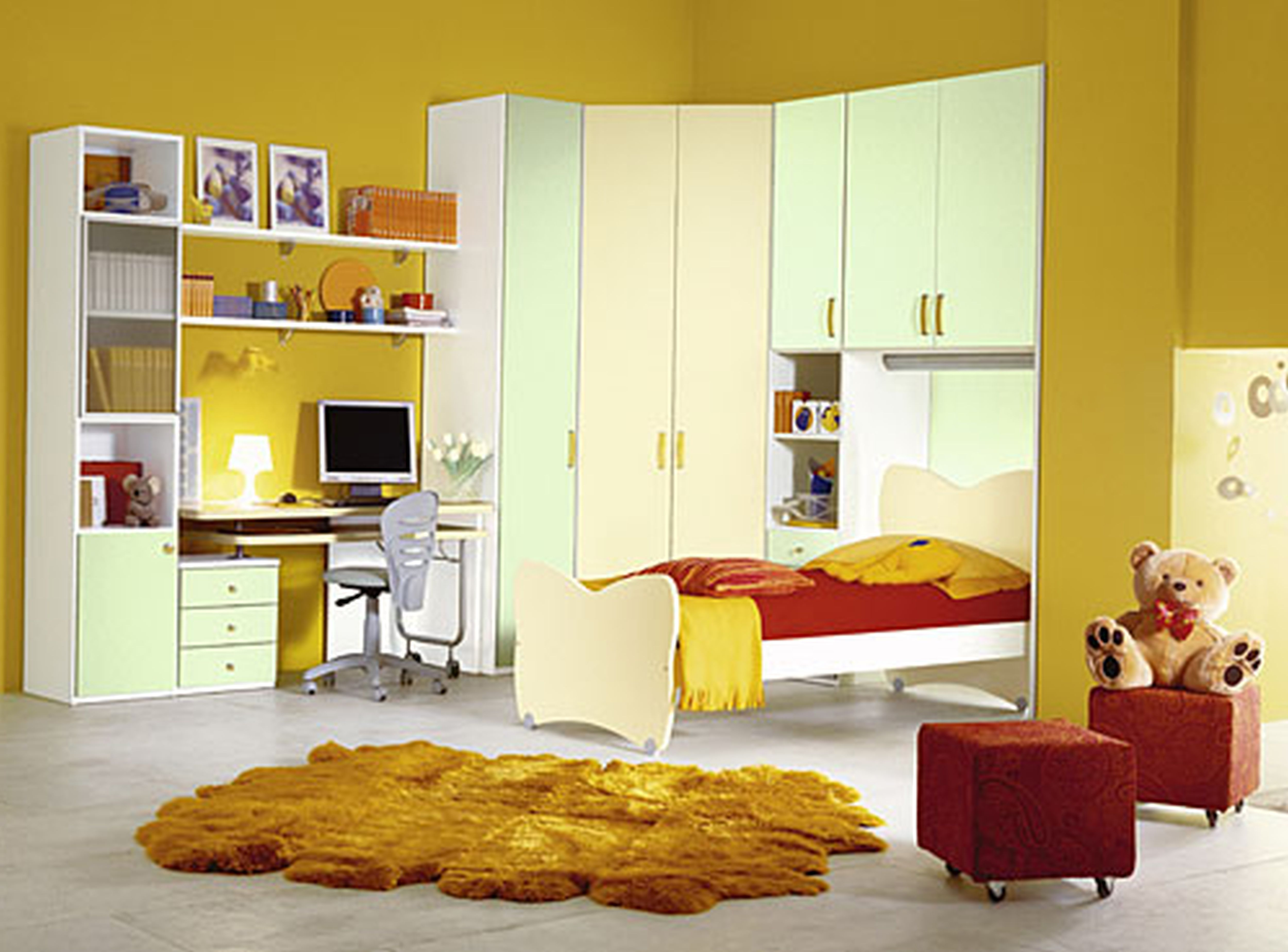 Charming Modern Yellow Wall Bedroom With White Color Interior Design ...