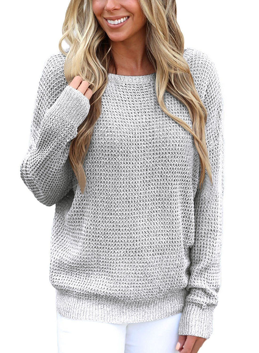 2a826deb699ce Asvivid Women s Long Sleeve Criss Cross Backless Casual Loose Knit Pullover  Sweaters S-XXL at