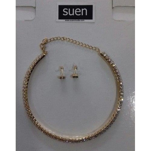 1338daeace28 collar y pendientes dorado strass