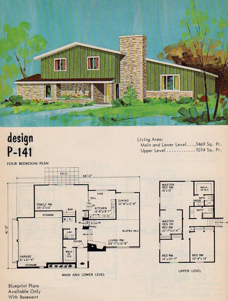 National Plan Service Design P 141 Mid Century Modern House Plans Vintage House Plans Sims House Plans