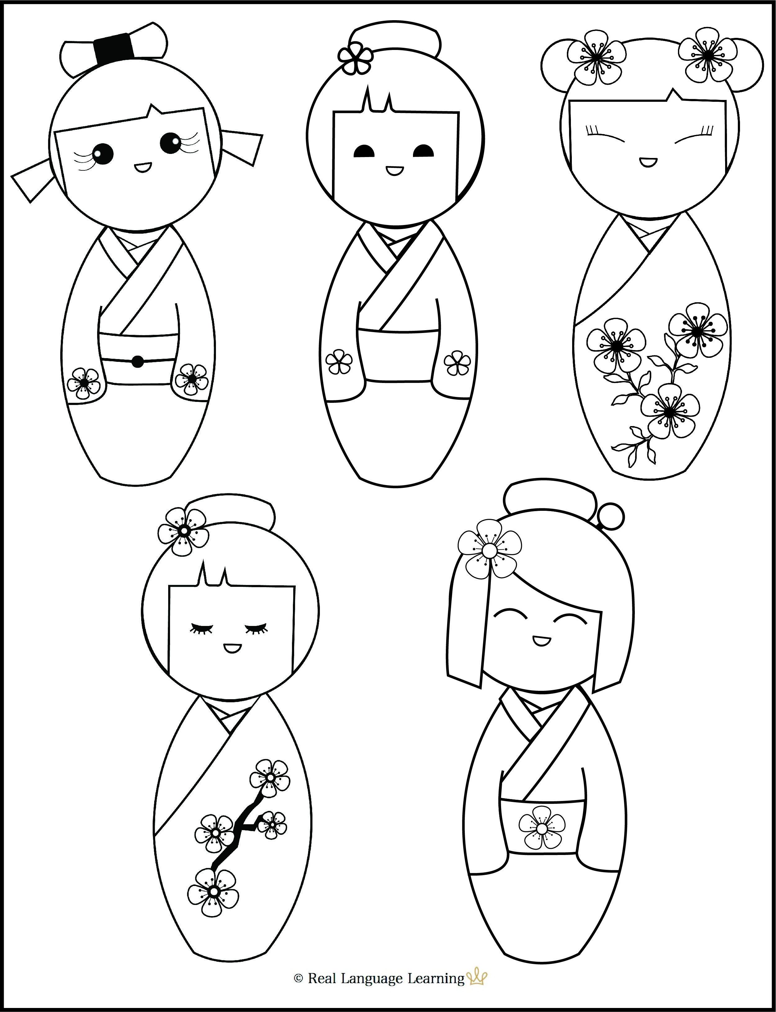 Adorable Kokeshi Doll Coloring Page Kokeshi Dolls Kokeshi Dolls